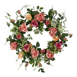 """Nearly Natural - 20"""" Rose Wreath - The rose is often seen as the """"perfect"""" flower. One look at the full, lush blooms, and you can see why. Well, we've taken those perfect blooms and created this exquisite 20"""" rose wreath that has to be seen to be believed. Full rose blooms circle round', while the leaves and stems provide the ideal backdrop. It's a mixture of bold color and """"wild vibrancy"""" that is sure to please even the most discerning eye."""