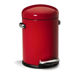 simplehuman - 4.5 Litre Retro Step Can, Red Steel - When you need help, turn to this can of steel. It's stronger than a locomotive, shaped like a speeding bullet and will help you clean up in a single bound — or at least a quick step on the pedal. It's only mild mannered at first glance.