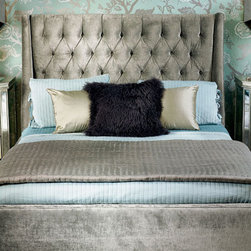 Amelia Bed -  Traditional Glam - Amelia Bed in Brussels Charcoal.  Phenomenal, upscale velvet that is sure to make a statement.