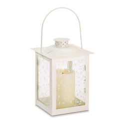 "Koehler Home Decor - Koehler Home Decor Antique Style Lantern - Large - Antique style candle holder featuring graceful curling vine design on glass panels. Perfect for adding special sparkle to your next garden party. Metal and glass. 5.75"" diameter x 1"" length x 8"" h.Antique style candle holder featuring graceful curling vine design on glass panels. Material: Metal and glass. Size: 5.75"" diameter x 8"" h."