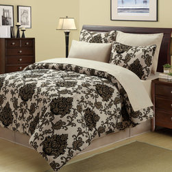 None - Viola 8-piece Bed in a Bag with Sheet Set - This luxurious updated damask design will provide a very lavish look to your bedroom d_cor. This attractive set comes with a coordinated bed skit, pillow shams, and sheets.