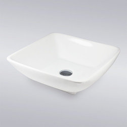 """TCS Home Supplies - White Porcelain Ceramic Countertop Bathroom Vessel Sink - 17-1/2 x 17-1/2 x 5-1/ - The angled interior of this square vessel sink adds a unique touch to a simple piece. An ideal focal point for a modern bathroom, this sink works well with vessel fillers and wall mount faucets. Exterior Dimensions 16-1/2"""" x 16-1/2"""". Depth 5""""."""