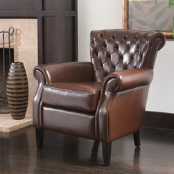 Christopher Knight Home - Christopher Knight Home Franklin Brown Tufted Bonded Leather Club Chair - Perfect for any office or living space,this luxurious brown bonded leather club chair is a stylish and comfortable addition. Its classic look fits well in any decor,and its wide seat with an overstuffed cushion makes it the last word in comfort.