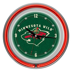 Trademark Global - Trademark Global 14 in. Minnesota Wild NHL Neon Wall Clock NHL1400-MW - Shop for Wall Decor at The Home Depot. This retro neon clock comes with two neon rings a bright white neon on the inside to light up the exclusive graphic and a vibrant neon ring on the outside. The high gloss chrome molded clock case adds to the brilliant shine of the neon. Make a spectacular addition to your kitchen, den or game room with this amazing clock.