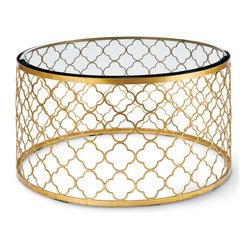 Kathy Kuo Home - Gable Hollywood Regency Glass Gold Leaf Round Coffee Table - Summon the glamour of old-world Hollywood with this enchanting table. With a glass top and a gold leaf quatrefoil pattern, this table is the perfect place on which to set your after-work martini.
