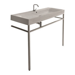 "WS Bath Collections - Cento 3534 + 9123K1 Free Standing Sink 47.2"" x 17.7"" - Cento by WS Bath Collections Bathroom Sink 47.2 x 17.7, Designed by Marc Sadler of Italy, with Free Standing Legs, in Ceramic White"