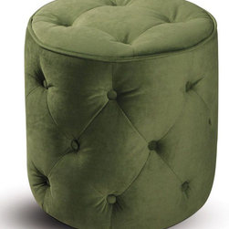"""Avenue Six - Curves Tufted Round Ottoman in Spring Green Velvet - Add style and sophistication to any room with the Curves Tufted Round Ottoman. Espresso finished wood legs with easy care fabric top complement any home decor.; Covered in a High Performance, Easy Care Fabric; Dacron wrapped foam cushions for ultimate comfort; Tufted Buttons for Classic Styling; Available in Chocolate Velvet (-C12), Spring Green (-G28), Port Velvet (-P19), Pink Velvet (-P18); Greenguard: No; Weight Capacity: 50; Outer Materials: Fabric / Wood; Assembly required: No; Dimensions: 17""""W x 17""""D x 17""""H"""