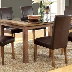 7 PC Light Oak Wood Dining Set Glass Top Chairs Brown Leather Seat - Modern meets transitional in this gorgeous light oak set. The sleek black glass insert contrasts well with replicated wood grain of the table top. Matching chairs can either be in dark brown leatherette for a dark tone or ivory fabric for a lighter feel.