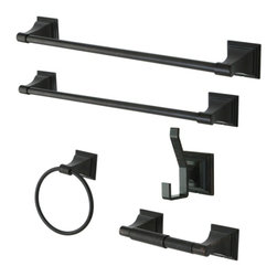 Kingston Brass - Oil Rubbed Bronze Collection 5-piece Towel Bar Bath Hardware Set BAHK61212478ORB - This bath accessory package gives you all the pieces necessary to complete your bathroom's decor,  the stately design of the escutcheons will give that touch of elegance to any bathroom, easy installation, also available in Polished Chrome and Satin Nickel Manufacturer: Kingston Brass. Model:BAHK61212478ORB. UPC: 663370253881. Product Name: Kingston Brass BAHK61212478ORB Monarch . Collection 5-piece Towel Bar Bath Hardware Set, Oil Rubbed Bronze. Collection / Series: Monarch. Finish: Oil Rubbed Bronze. Theme: Classic. Material: Zinc Alloy. Type: Bathroom. Features: Design is Perfectly Coordinated to Match the Bathroom Decor. Excellent Artistic Craftsmanship . Offering Convenience and Quality at a Competitive Price. Set Includes 18-inch Towel Bar, 24-inch Towel Bar, Towel Ring, Toilet Paper Holder and Robe Hook.Features Cast and Machined Zinc Hubs with Aluminum Towel Bar.