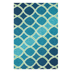 Loloi Rugs - Loloi Rugs Venice Beach Collection Rug, Blue/Green - The Venice Beach Collection brightens up your home - inside or out - with a series of appealing, modern, hand-hooked designs from China. Made of 100-percent polypropylene, the rugs are UV and mildew-resistant.