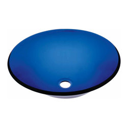 Renovators Supply - Vessel Sinks Blue Monday Glass Vessel Sink Hat Shape | 12825 - Glass Vessel Sinks: Single Layer Tempered glass sinks are five times stronger than glass- 1/2 inch thick- withstand up to 350 F degrees- can resist moderate to high degrees of impact & are stain?proof. Ready to install this package includes FREE 100% solid brass chrome-plated pop-up drain- FREE machined 100% solid brass chrome-plated mounting ring & silicone gasket. Measures 16 7/8 in. dia. x 5 3/4 in. deep x 1/2 in. thick.