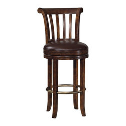 Howard Miller - Howard Miller Ithaca Bar Stool - 697000 - Shop for Stools from Hayneedle.com! Sit down and get comfortable. The Howard Miller Ithaca Bar Stool makes that easy. This handsome bar stool is made of select hardwoods and veneers and has a lightly distressed Hampton Cherry finish protected by a durable clear topcoat.As you settle in and relax notice the brown faux leather seat and comfortable slat style back. At 30.5-inches high the seat is just the right height for most bars. This classically styled bar stool would look just as good in a commercial bar as your home bar. The seat features a zero return swivel and the chair has a metal footrest with an antiqued brass finish. The four legs have furniture glides so this chair is easy on your floors. Overall measurement: 22.75W x 25.25D 45H inches. Please note: This item is not intended for commercial use. Warranty applies to residential use only.The Howard Miller StoryIncomparable workmanship unsurpassed quality and a quest for perfection - these were the cornerstones of the company Howard C. Miller founded back in 1926 at the age of 21. Even then Howard Miller understood the need to create products that would be steeped in quality and value.In 1989 Howard Miller began creating collectors' cabinets with the same attention to detail and craftsmanship inherent in their clock-making. Fashioned from glass and hardwoods Howard Miller cabinets are ideal for displaying heirlooms plates glassware and other collectibles.A highly respected brand Howard Miller maintains its popularity because of the company's commitment to quality. Every product manufactured at the company's sprawling facility in Zeeland Michigan undergoes stringent tests and exceeds industry standards to ensure a lifetime of enjoyment.