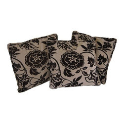 Used Trio of Pillows in Osborne & Little Fabric - Custom made out set of three pillows made of a beautiful Osborne & Little to-the-trade fabric.  Fabric is a chocolate and taupe floral. Self welted, luxurious hand and in great condition.