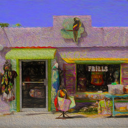 'Purple Shop' A Digital Painting by Dennis Granzow, 10x8 - Image comes unframed. See framed sample below photo.