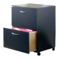 Nexera - Nexera Mobile 2-Drawer Mobile Wood Filing Cabinet in Black - Nexera - Filing Cabinets - 6093. This attractive sleek filing cabinet consists of two file drawers set on metal glides for ease of use for legal size documents. The cabinet is set on high quality casters to allow you to move it from area to area effortlessly.