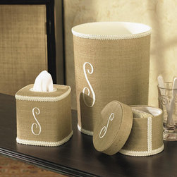 Ballard Designs - Monogrammed Linen Wastebasket -Brocade Trim - These special accessories are hand covered in linen with cream brocade trim and personalized with cream, single letter initial. Tissue Cover and Wastebasket have hard plastic liners. Hardback Lidded Box is lined in cream taffeta.*Please note that personalized items are non-returnable.