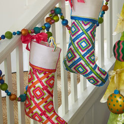 Kim Seybert Pop Color Christmas Stockings - The whimsical look and geometric pattern on these stockings are perfect for children of all ages. They are so stylish!