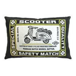 """KOKO - Match Co. Pillow, Scooter Print, Olive/Black, 13"""" x 20"""" - This vintage advertisement brings just the right hint of carefree charm to a room. Have the motor scooter of your dreams resting safely on your bed or sofa and cuddle up with a bit of history."""