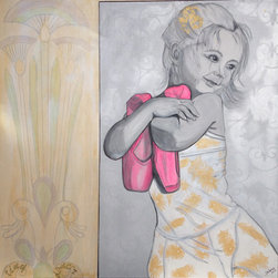 """Unconscious On Canvas - """"Tiny Dancer"""" Artwork - This tiny dancer will charm her way into your heart — and onto your wall. It's an original artwork painted in grays, soft yellows and bright pinks. It comes on stretched, gallery quality canvas ready to hang."""