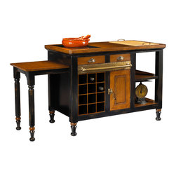 French Heritage - Gourmet Kitchen Island, Black - Make any home a castle with this gourmet kitchen organizer. Painted finishes highlight beautiful wood, with plenty of storage, marble and cutting board too!