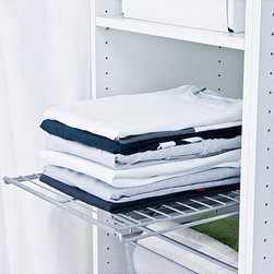 None - Extendable Shelf - Keep everything orderly by using this white extendable shelf. The shelf, which is mounted to a ball-bearing track, can be adjusted from 17.5 inches to 25.5 inches in width. This shelf will provide you with storage space that you never knew you had.