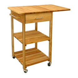 Catskill - Aspen Butcher Block Kitchen Cart Multicolor - 7227 - Shop for Carts from Hayneedle.com! Designed with small spaces in mind the Aspen Butcher Block Kitchen Cart is both compact and versatile. It offers plenty of storage options. You'll appreciate the two slatted shelves top drawer towel bar and drop leaf that allow you to maximize your work space. This item is made from oil-finished natural yellow birch hardwood which is indigenous to the Northeastern U.S. and ranges in color from blond to a darker walnut shade; the natural variation in color allows this cart to coordinate with your existing decor. Satin nickel accents complete the look. Heavy-duty locking caster wheels provide convenient mobility or stationary use as needed.Dimensions:Overall (assembled): 32.75W x 21D x 35.75H inchesTabletop (drop leaf down): 20W x 21D inchesShelf: 18.5W x 17.5D x 11.25H inchesInterior drawer: 13.38W x 14.88D x 4.75H inchesThis cart ships ready to assemble. The process is easy requiring only common household tools. Furniture will be shipped with all other necessary hardware and easy-to-follow instructions.The top of this cart is made for chopping and cutting and any scratches can be removed with high-grit sandpaper. Recent studies indicate that wood is safer for food preparation than plastic or glass cutting boards; bacteria like salmonella disappear quickly on wood but tend to live and thrive on plastic. You should always clean your wooden cutting board surface with soapy water taking care to remove any food particles and dry the board immediately.To maintain the beautiful finish of your butcher block top always wipe clean with a damp sponge or cloth and use a mild detergent. You should never soak the wood or let water stand for long periods of time as it affects the grain. Rinse well and towel-dry before applying new oil. We recommend Catskill's Original Butcher Block Oil although drug store mineral oil can also be effective in sealing wood. Oil will enhance the color o