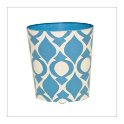 Worlds Away Oval Wastebasket, Blue and Cream - OVAL WASTEBASKET BLUE AND CREAM