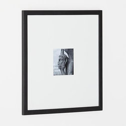 Matte Black 5x5 Wall Frame - Classic black wood and extra-wide white mat frames a single photo in a modern, gallery-style presentation.