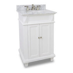 Hardware Resources - Hardware Resources VAN094-NT, White Marble Top - This 24 in  wide MDF vanity features a sleek white finish, clean lines and tapered feet to give a modern feel. A perfect alternative to a pedestal sinks. A large cabinet provides storage. This vanity has a 2 cm white marble top preassembled with an H8809WH (15 in  x 12 in ) bowl, cut for 8 in  faucet spread, and corresponding 2 cm x 4 in  tall backsplash.
