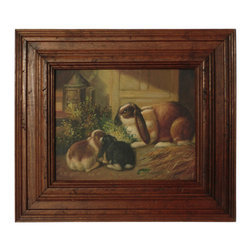 Lop Eared Rabbit Oil - A charming naive oil on canvas painting from France of a family of rabbits.
