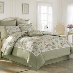 Laura Ashley - Laura Ashley Avery Cotton 3-piece Duvet Cover Set - Bring beauty to your bedroom decor with the Laura Ashley Avery duvet cover featuring a floral pattern and pintucking. Constructed of 100-percent cotton,this set is machine washable for easy care and repeated use.