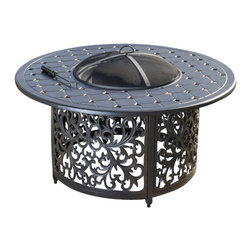 Great Deal Furniture - Gonzalo Outdoor Elegant Charcoal Grey Ceramic Fire Pit - Enjoy the outdoors with the Ceramic Fire Pit. Constructed with a cast aluminum and steel frame, this fire pit is elegantly with decorative frame finish. The iron shield offers ample protection to enjoy chats fireside with your guests and is removable for those beloved smore nights. When not in use, this fire pit can be closed to double as a table. Place this pit around your favorite seating area for a functional and elegant addition to your backyard or patio area during those summer and winter nights. NOTE: Do not use charcoal, this fire pit is built for burning fire wood.
