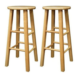 "Winsome - ""Winsome Wood Square Leg Barstool (Set of 2), Natural, 29"""""" - ""Set of 2 Bar Stools with Square Legs, 29"""" Height, Solid Beachwood. Fully AssembledDimensions (W x L x H): 13"""" x 13"""" x 29""""Weight: 1.5 lbs.Set of 2 square leg barstools offers classic, casual styleCrafted of solid beechwood with natural finishRound top and square legs for fun geometry; two sets of rungs act as stabilizers and footrestsFully assembledAvailable in 24-inch and 29-inch heights"""