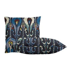 """Cushion Source - Ikat Bands Indigo Throw Pillow Set - The Ikat Bands Indigo Throw Pillow Set consists of 18"""" x 18"""" cotton throw pillows with a globally-inspired ikat pattern in indigo, cerulean, chartreuse, and terracotta."""