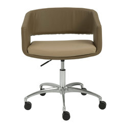 Euro Style - Amelia Office Chair - Latte/Mocha/Chrome - Not too formal. Not too casual. This chair says 'thanks for stopping by my office, let's spend some time together  Sturdy, easy rolling five leg casters and a totally contemporary choice of colors.