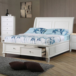 Coaster - Hermosa Beach Full Bed - Create a warm and welcoming look in your master bedroom or guest room with this platform-like sleigh bed. It features two storage drawers at the foot of the bed to keep clothing, shoes, linens and items neatly stowed away. A stylish sleigh headboard is complemented by clean and straight lines. Brighten up your bedroom with the simplistic style of this sleigh bed.