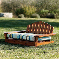 Outdoor Adirondack Pet Bed - When it comes to outdoor living, I cannot forget about my canine friends. I have two Boston terriers, Frisco and Buxton, who enjoy being outside when my family and I are outside. If we have a comfortable place to lounge in the sun, so should the dogs! This Adirondack-inspired dog bed is adorable.