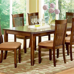 Steve Silver Co. - Montreal 5-Pc Dining Table Set - Includes table and four side chairs. One 18 in. leaf. Comfortably seats six. Tongue and groove joints. Corner blocked construction. Made from ash veneers and select hardwoods. Made in Vietnam. Table minimum: 60 in. L x 42 in. W x 30 in. H (138.5 lbs.). Table maximum: 78 in. L x 42 in. W x 30 in. H (138.5 lbs.). Made in Vietnam. Chair seat height: 18 in.. Chair: 19 in. W x 21 in. D x 40 in. H (21.5 lbs.)