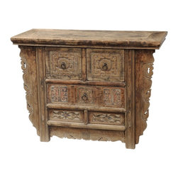 Consigned- Antique Medium Size Carved Cabinet - Perfect as entry cabinet! Antique, hand carved medium size cabinet with drawers and carved detail. Solid elm, one of a kind.