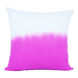 Calyz - Pink Ombre Square Pillow - These placemats are handmade and hand-dyed by women artisans in India. The cotton and linen fabric is high-quality and easy to clean, and the stunning magenta-and-white ombre effect and stitching detail are sure to bring extra style and excitement to your dining room table. Match them with our Pink Ombre Napkins for a complete dining room set. 65% LINEN/35% COTTON