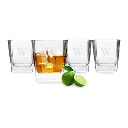 None - Personalized Rocks Glasses - This four-piece set of engraved low ball glasses features a classic squared-off shape and a weighted bottom. Perfect for a wedding gift,these attractive glasses are dishwasher safe and can be custom engraved with a single block initial.