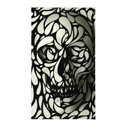 """Contemporary Black & White Skull Rug, 72x48 - Using 100% woven polyester, these premium quality area rugs boast an exceptionally soft touch and high durability. Available in three versatile sizes (36""""x24"""", 60""""x36"""", 72""""x48"""") they are the perfect accent to any room in your home, featuring thousands of designs from your favorite artists on a subtle chevron pattern. Machine washable; non-skid pad not included."""
