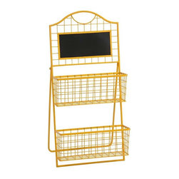 Richards Metal Magazine Holder - The Richards Metal Magazine holder incorporates simple two-tiered metal baskets topped with a chalk board. The easel style stand and bright yellow finish make it fun and easy to display.