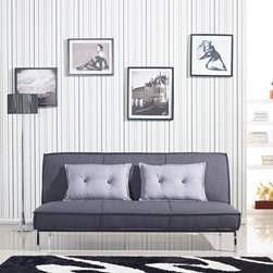 None - Vitoria 76-inch Charcoal Grey Sleeper Sofa Bed with French Seams - This stylish sofa bed features a thick foam-filled pad upholstered in grey linen-like polyester fabric with French seams. Finished in chrome,this bed has a modern look to contribute to any decor.