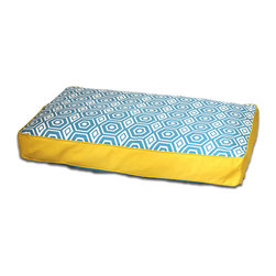 ez living home - Honeycomb Memory Foam Topper Pillow Bed Turquoise, Large - *Aesthetically pleasing geometric pattern, EZ to decorate with, suitable for any style.