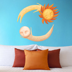My Wonderful Walls - Dancing Sun and Moon Wall Decal Set - Repositionable Decal Sticker, Small - - Dancing Sun and Moon graphic by Laura González