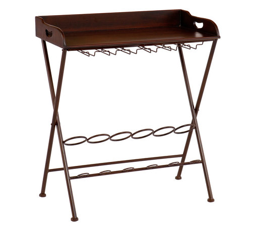 SEI - San Luis Wine Table - Serve up a night of fun and relaxation with this espresso wine table. The storage space and versatility of this table make it an ideal choice for the wine enthusiast and beginner alike. This wine table has a rich espresso finish and a contemporary, tray table design. Glass hanging racks and a bottle rack provide ideal storage for all of your wine and accessories. The table top removes and converts to a portable serving tray for the ultimate in serving convenience. This wine table is a wonderful choice for entertaining guests or everyday use. Add it to the dining room, kitchen, or family room - wherever you choose to unwind.