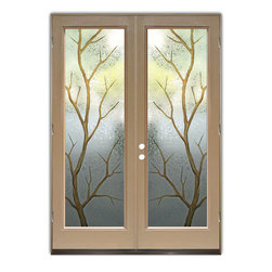 "Glass Doors - Frosted Glass Front Entry Doors - BRANCH OUT II 3D W/ COLOR - Glass Front Entry Doors that Make a Statement! Your front entry door is your home's initial focal point and glass front doors by Sans Soucie with frosted, etched glass designs create a unique, custom effect while providing privacy AND light thru exquisite, quality designs!  Available any size, all glass front doors are custom made to order and ship worldwide at reasonable prices.  Exterior entry door glass will be tempered, dual pane (an equally efficient single 1/2"" thick pane is used in our fiberglass doors).  Selling both the glass inserts for front doors as well as entry doors with glass, Sans Soucie art glass doors are available in 8 woods and Plastpro fiberglass in both smooth surface or a grain texture, as a slab door or prehung in the jamb - any size.   From simple frosted glass effects to our more extravagant 3D sculpture carved, painted and stained glass .. and everything in between, Sans Soucie designs are sandblasted different ways creating not only different effects, but different price levels.   The ""same design, done different"" - with no limit to design, there's something for every decor, any style.  The privacy you need is created without sacrificing sunlight!  Price will vary by design complexity and type of effect:  Specialty Glass and Frosted Glass.  Inside our fun, easy to use online Glass and Entry Door Designer, you'll get instant pricing on everything as YOU customize your door and glass!  When you're all finished designing, you can place your order online!   We're here to answer any questions you have so please call (877) 331-339 to speak to a knowledgeable representative!   Doors ship worldwide at reasonable prices from Palm Desert, California with delivery time ranges between 3-8 weeks depending on door material and glass effect selected.  (Doug Fir or Fiberglass in Frosted Effects allow 3 weeks, Specialty Woods and Glass  [2D, 3D, Leaded] will require approx. 8 weeks)."
