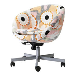 SKRUVSTA Swivel chair by IKEA - Add a big dose of eclectic pattern to your home office or dining room with this dynamic swivel chair from IKEA. Also available in just plain black or just plain white, but how could you choose either of those when this happy print is available.