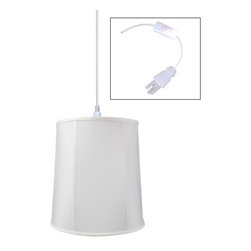 "Home Concept - 1-Light Plug-In Swag Pendant Lamp White 12x14x15 - Plug In Swag Pendant - The perfect addition to any dark corner, or above a table that the builder didn't provide electrical wiring. You will love your swag pendant light because it can move anywhere and put the light exactly where you need it. Wondering about size?  Simply add the length and width of your space and that will give you the maximum bottom width of your pendant. If your swag is not centered in the room, you should likely use smaller measurements to define the ""space"" you are lighting up.      Why Upgrade to Home Concept Signature Pendants?       Top Quality Premium Lampshades means your room will glow with a rich, warm luster your guests will notice.  Plus we include upgrades like a premium inner lining and dual bulb clips so your new shade will last for years.      Heavy brass and steel frames mean you can feel the difference when you lift it."